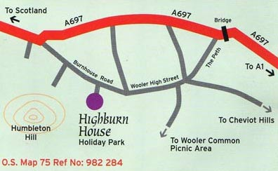 map to Highburn House Country Holiday Park